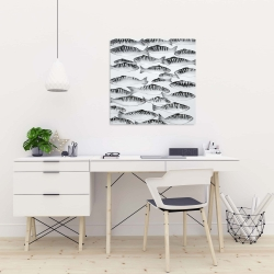 Canvas 24 x 24 - Gray shoal of fish