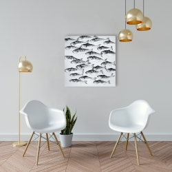Canvas 24 x 24 - Gray school of fish