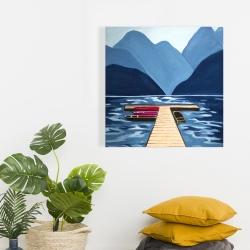 Canvas 24 x 24 - Lake, quai & mountains