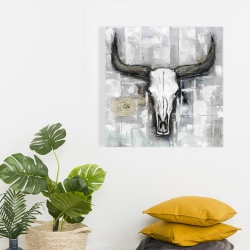 Canvas 24 x 24 - Bull skull on an industrial background