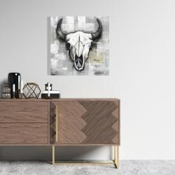 Canvas 24 x 24 - Industrial style bull skull