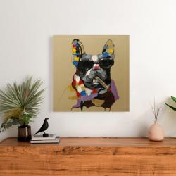 Canvas 24 x 24 - Abstract smoking dog