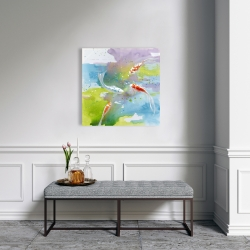 Canvas 24 x 24 - Koi fish in colorful water