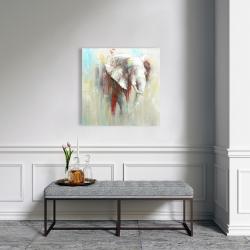 Toile 24 x 24 - éclats de peinture sur éléphant abstrait