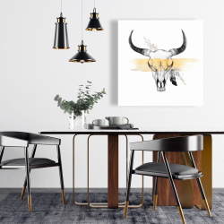 Canvas 24 x 24 - Cow skull with feather