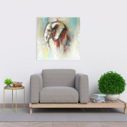 Toile 24 x 24 - éléphant abstrait avec éclats de peinture