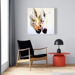 Canvas 24 x 24 - Couple of colorful zebras