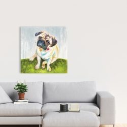 Canvas 24 x 24 - Cute pug with a rose in his mouth