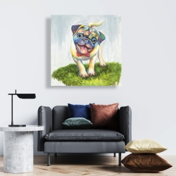 Canvas 24 x 24 - Colorful smiling pug
