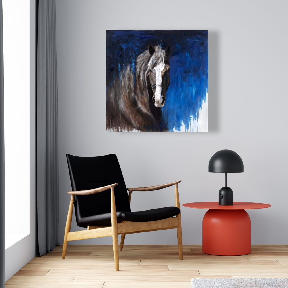 Brown horse on blue background