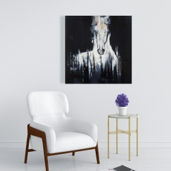 Canvas 24 x 24 - Abstract white horse on black background