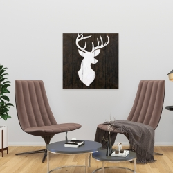 Canvas 24 x 24 - White silhouette of a deer on wood