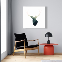 Canvas 24 x 24 - Deer head with green landscape shape