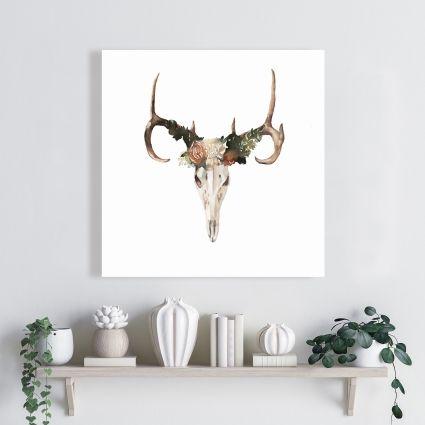Deer skull with roses