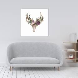 Canvas 24 x 24 - Deer skull with flowers