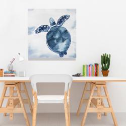 Canvas 24 x 24 - Watercolor blue turtle