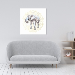 Canvas 24 x 24 - Elephant on mandalas pattern