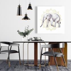Canvas 24 x 24 - Elephant on mandalas