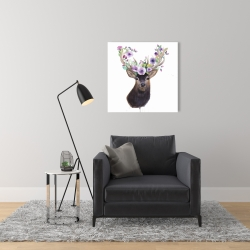 Canvas 24 x 24 - Roe deer head with flowers