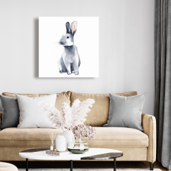 Canvas 24 x 24 - Gray curious rabbit