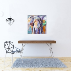 Canvas 24 x 24 - Elephant in pastel color