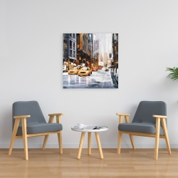 Canvas 24 x 24 - Big city street with yellow taxi