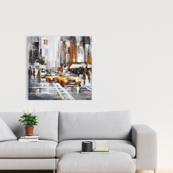 Canvas 24 x 24 - Abstract citystreet with yellow taxis