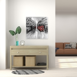 Canvas 24 x 24 - Black and white street with red bus