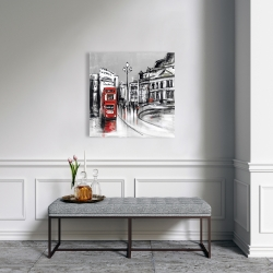 Canvas 24 x 24 - Abstract gray city with red bus