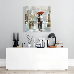 Canvas 24 x 24 - Couple walking under their umbrella