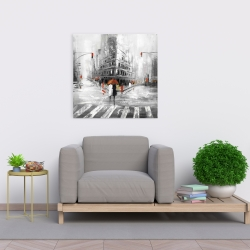Canvas 24 x 24 - Gray city street with red accents