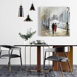 Canvas 24 x 24 - Couple walking under the rain