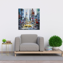Canvas 24 x 24 - Urban scene with yellow taxis