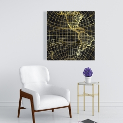 Canvas 24 x 24 - Black and marine world map globe