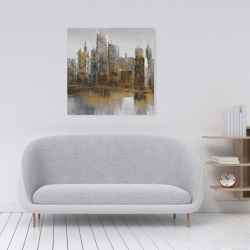 Canvas 24 x 24 - Gray and yellow cityscape