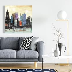 Canvas 24 x 24 - Skyline on abstract cityscape