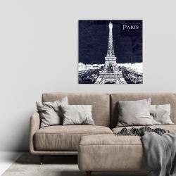Canvas 24 x 24 - Paris blue print and eiffel tower