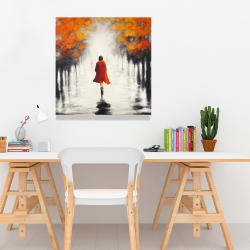 Canvas 24 x 24 - Woman with a red coat by fall