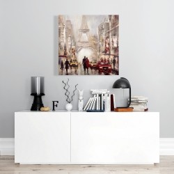 Canvas 24 x 24 - Busy street of paris with eiffel tower