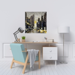 Canvas 24 x 24 - Abstract and texturized city with yellow taxis