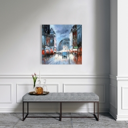 Canvas 24 x 24 - Abstract red and blue city