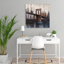 Canvas 24 x 24 - Brown and blue brooklyn bridge