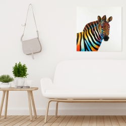 Canvas 24 x 24 - Colorful profile view of a zebra