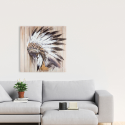 Canvas 24 x 24 - Indian with feathers