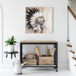 Toile 24 x 24 - Indienne avec une coiffe amérindienne