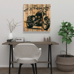 Canvas 24 x 24 - Motorcycle on wood background