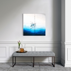 Canvas 24 x 24 - White boat on a deep blue water
