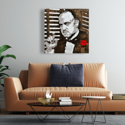 Canvas 24 x 24 - Black and white the godfather