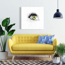 Canvas 24 x 24 - Green eye in watercolor