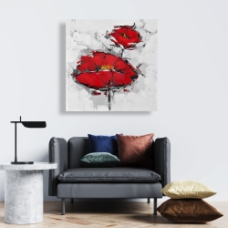 Canvas 24 x 24 - Texturized red poppies